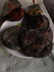 Blue corn gorditas for dinner.  Similar to a pita pocket sandwich, but warm and filled with various stuffings!