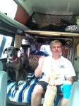 Mike and the three dogs are riding in the back of the van!