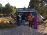 Mike is showing the van to an interested family from Chihuahua.