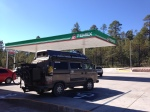 Typical gas station stop.  Pemex is the only option in Mexico- owned by the government.
