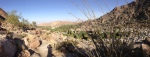 A view of the valley below in panorama.  Palms, hot springs, boulders and maybe a rough road!