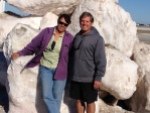 Geneva and Mike in front of salt crystals.