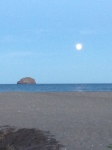 After the sun was gone, the ocean and sky became blue with a full moon hanging in the sky!