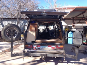 Big open space with rear hatch open and AC cabinet gone.  I will miss the storage, but love the headroom.