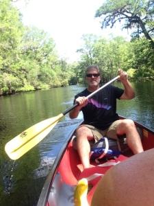 Mike paddling along the Suwannee River.