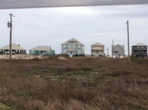 Typical coastal homes along the Gulf of Mexico.