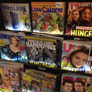 An interesting selection of magazines at the cash register here in the Deep South.
