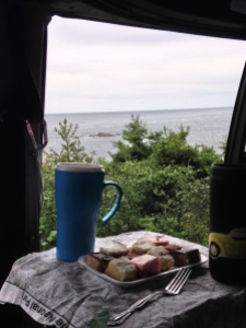 breakfast at cape breton overlooking the sea