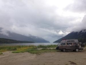 Camped on tidal plain near skagway
