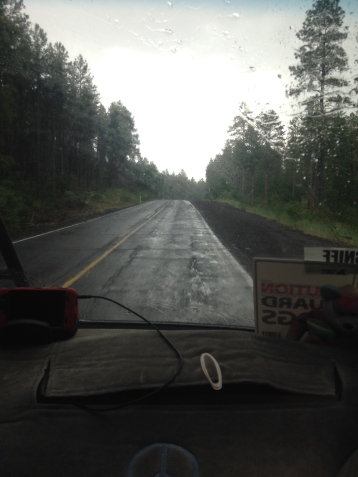 first rain of the trip outside flagstaff