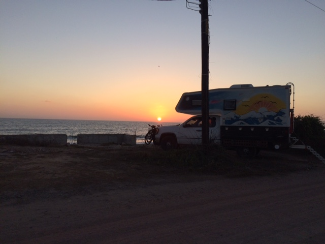 sunset over the rig