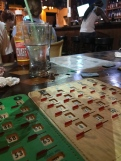 Playing bingo at the local bar.