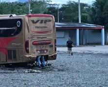 man in bus engine