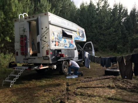 forest camp flat tire